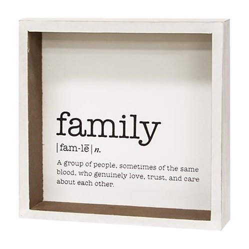 Pack of 4 Family Definition Shadowbox Sign