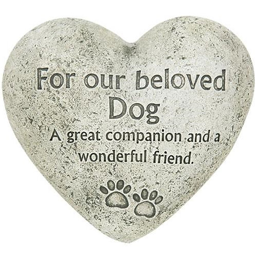 Beloved Dog Cement Heart Memorial