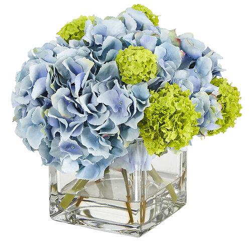 """10"""" Hydrangea Artificial Arrangement in Glass Vase"""