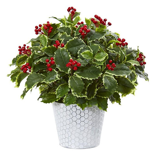 """17""""  Variegated Holly Leaf Artificial Plant in Decorative Planter (Real Touch)"""
