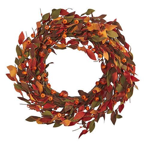 "20"" Harvest Leaf and Mini Pumpkin Artificial Wreath"