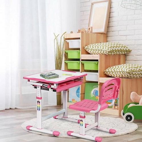 Height Adjustable Children's Desk Chair Set -Pink