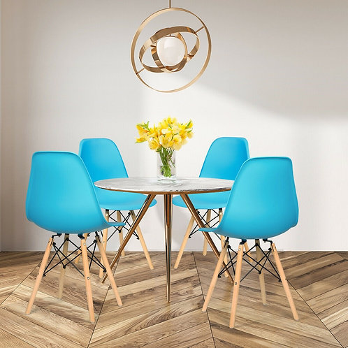 Set of 2 Mid Century Modern Dining Chairs with Wooden Legs-Blue