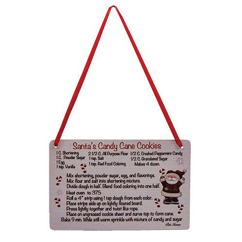 Pack of 4 Santa's Cookies Recipe Ornament
