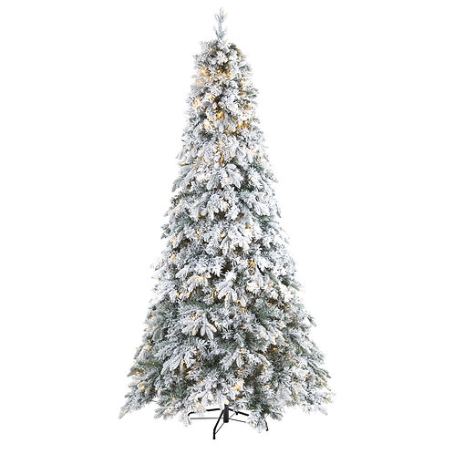 8' Flocked Vermont Mixed Pine Artificial Christmas Tree with 600 LED Lights