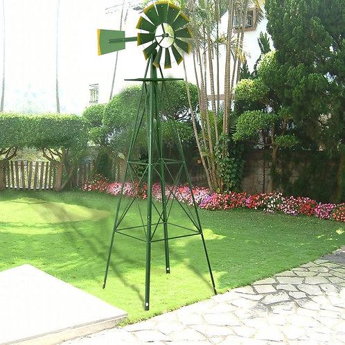 8' Tall Garden Ornamental Windmill-Green
