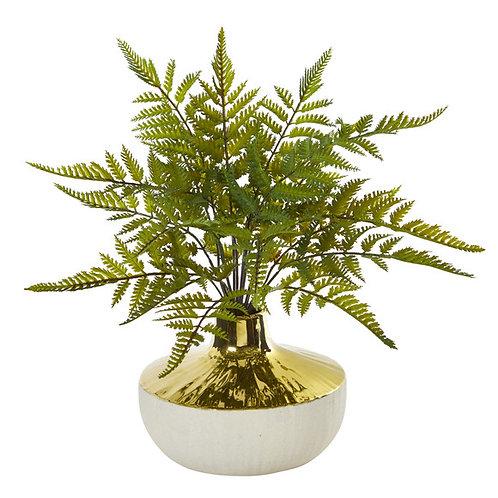 "14"" Fern Artificial Plant in Gold and Cream Elegant Vase"