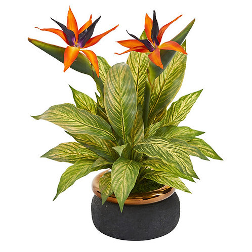 """20"""" Bird of Paradise and Musa Leaf Artificial Arrangement in Stoneware Bowl"""