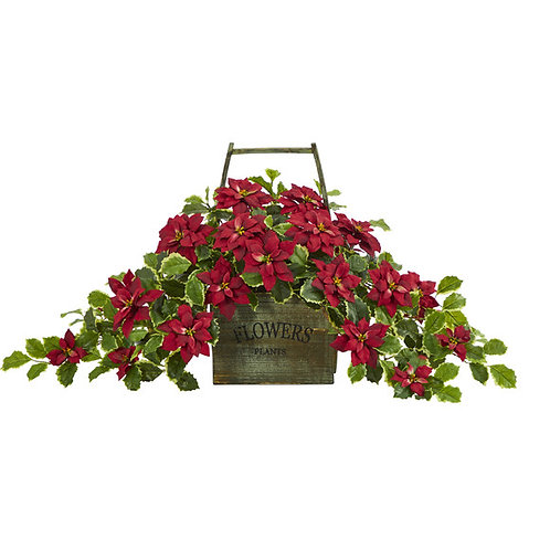 """18"""" Poinsettia and Variegated Holly Artificial Plant"""