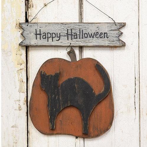 Happy Halloween Cat Pumpkin Hanger