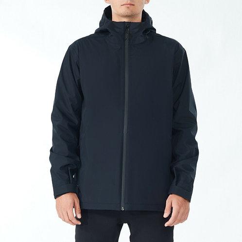 Men's Waterproof Rain Windproof Hooded Raincoat Jacket-Black-L