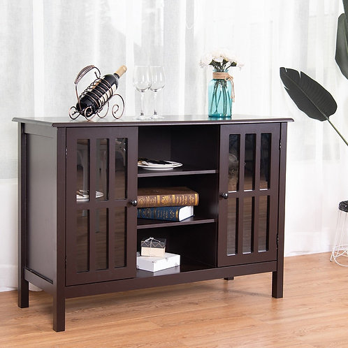 """Wood TV Stand Console Cabinet for 45"""" TV-Brown"""