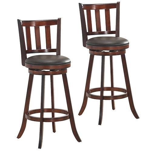 "Set of 2 Bistro Leather Padded Swivel Bar stool-31"""