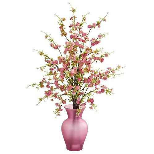 Cherry Blossom Artificial Arrangement in Rose Vase