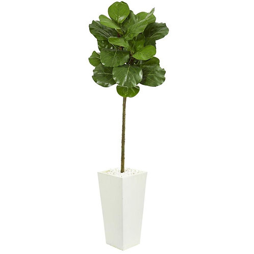 5.5' Fiddle Leaf Artificial Tree in White Tower Planter