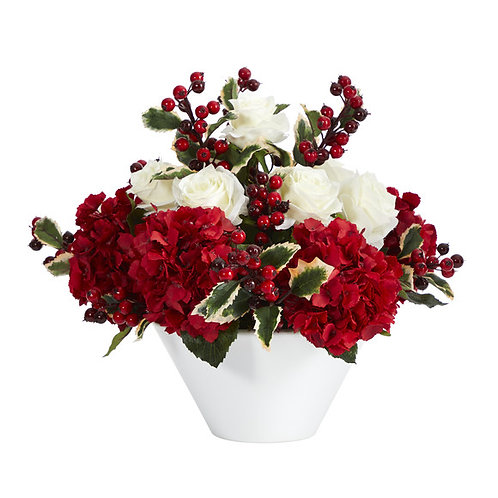 """17"""" Rose, Hydrangea and Holly Berry Artificial Arrangement in White Vase"""
