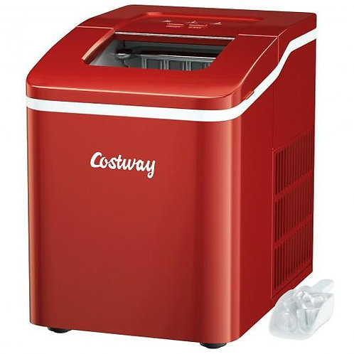 Portable Countertop Ice Maker Machine with Scoop-Red
