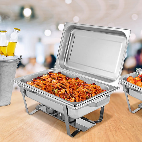 4-Pack of Full Size Tray 8 Quart Stainless Steel Chafer for Buffet