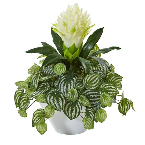 """18""""  Bromeliad & Peperomia Artificial Plant in White Bowl"""