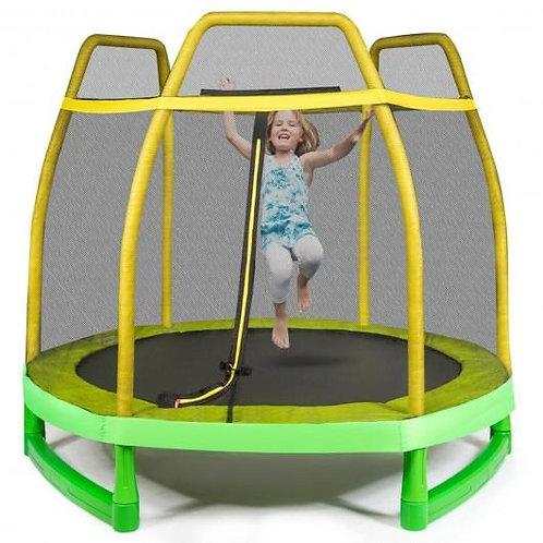7FT Kids Trampoline W/ Safety Enclosure Net-Yellow