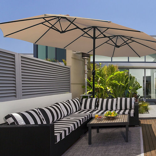 15 Ft Patio Umbrella Outdoor Umbrella with Crank & Base-Beige