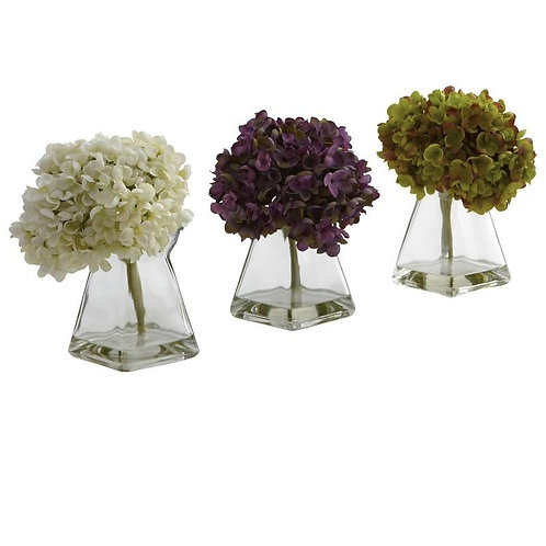Hydrangea w/Vase (Set of 3)