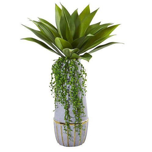 "15""  Agave Succulent Artificial Plant in Stoneware Planter"