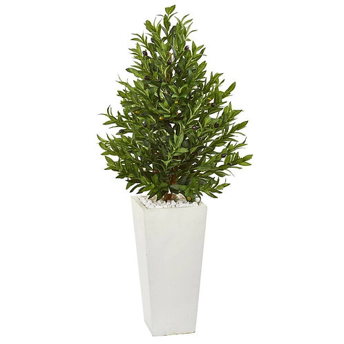4' Olive Cone Topiary Artificial Tree in White Planter UV Resistant