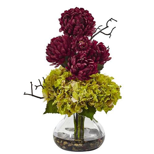 Hydrangea and Mum in Vase