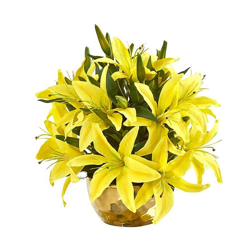 Lily Artificial Arrangement in Gold Vase