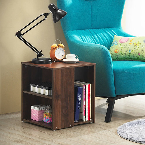 2 Shelf Side End Table with Open Storage Shelves