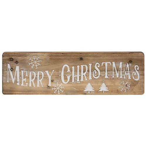 Merry Christmas Natural Wood Sign