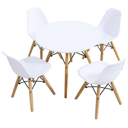 5 Piece Kids Mid-Century Modern Table Chairs Set