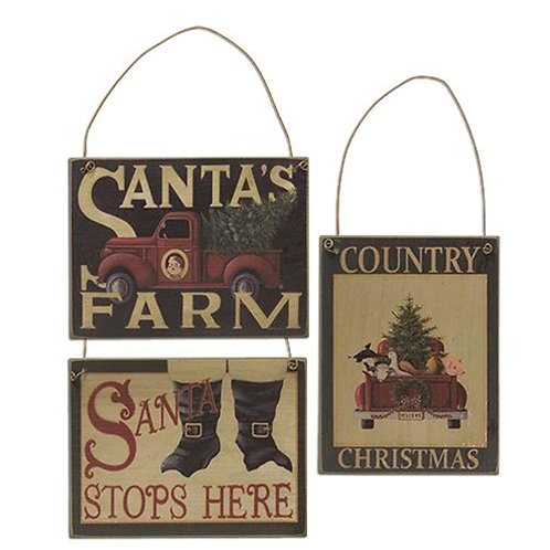 Santa's Farm Ornament 3 Asstd
