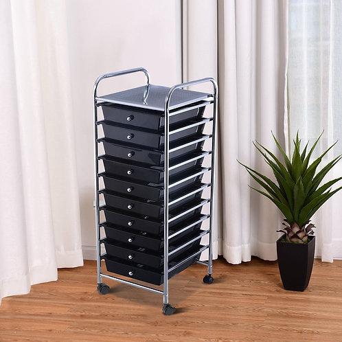 10 Drawer Rolling Storage Cart Organizer-Black