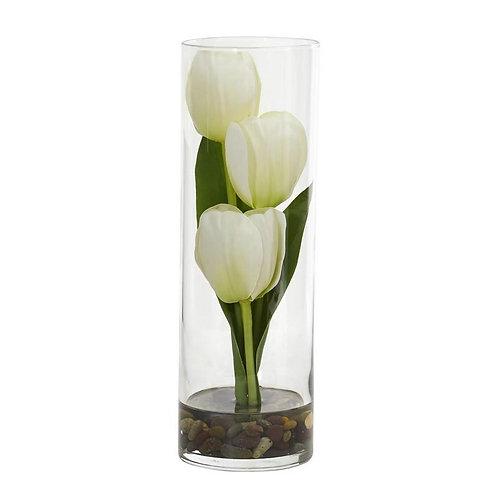 """10"""" Tulips Artificial Arrangement in Cylinder Vase"""