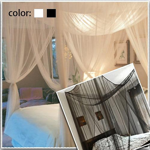 4 Corner Post Full Queen King Size Bed Mosquito Net-White