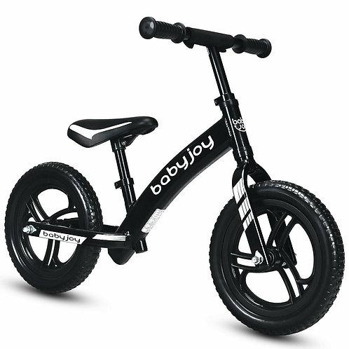"12"" Kids No-Pedal Balance Bike with Adjustable Seat-Black"