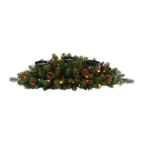 """30"""" Flocked and Glittered Artificial Christmas Triple Candelabrum"""
