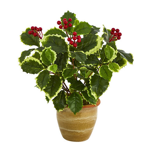 """14"""" Variegated Holly Leaf Artificial Plant in Ceramic Planter (Real Touch)"""
