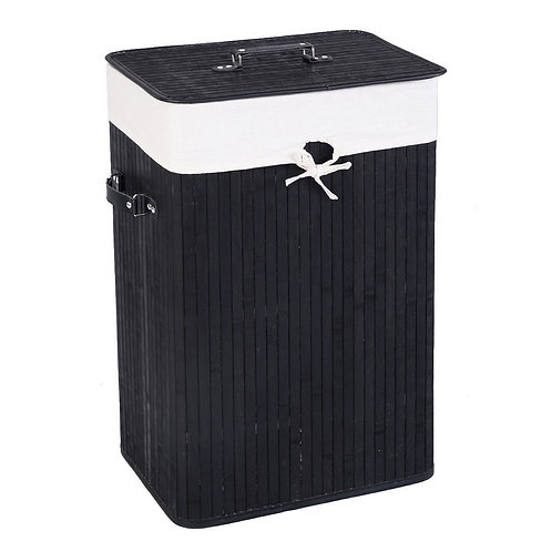 Bamboo Hamper Laundry Basket Washing Cloth Bin Storage Bag Lid color-Black