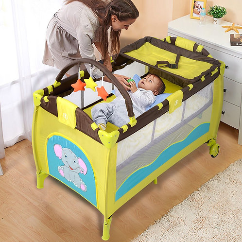 Green Portable Baby Crib Infant Bassinet Bed