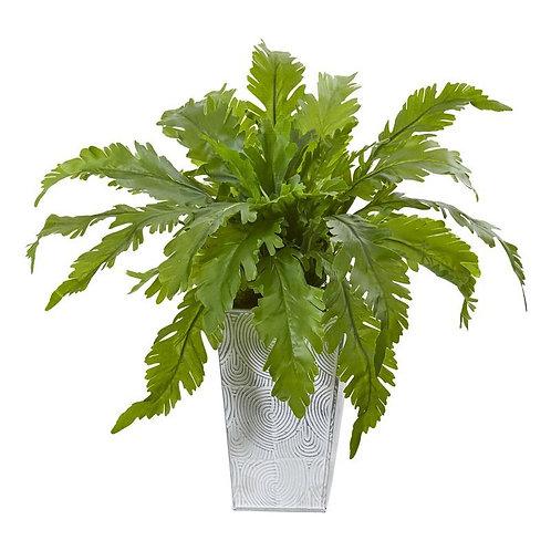 "15""  Fern Artificial Plant in White Planter"