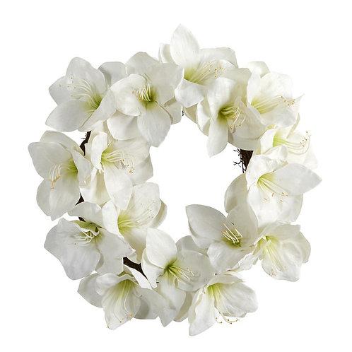 """18"""" White Amaryllis Artificial Wreath"""