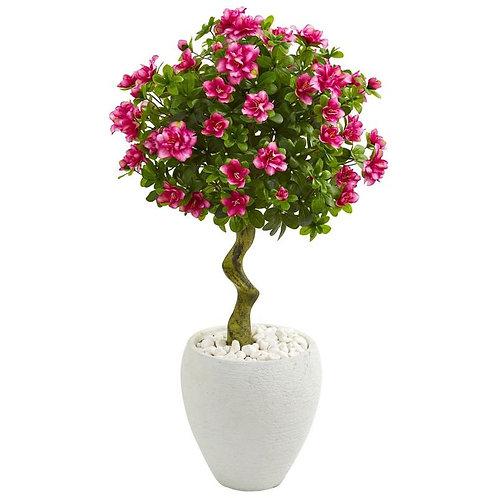 39' Azalea Artificial Topiary Tree in White Planter