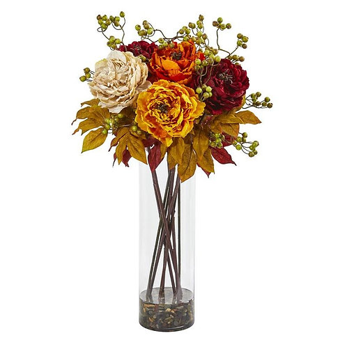 """36""""  Peony and Berries Artificial Arrangement in Large Cylinder Vase"""