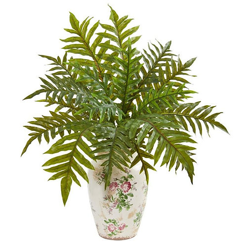 """25""""  Hares Foot Fern Artificial Plant in Decorative Vase (Real Touch)"""