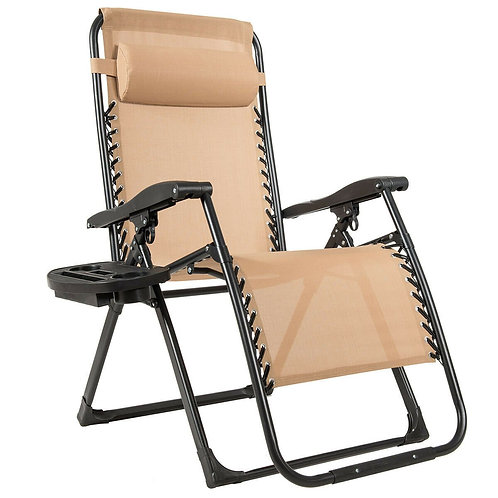Oversize Lounge Chair Patio Heavy Duty Folding Recliner-Beige