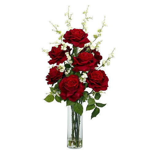 Roses w/Cherry Blossoms Silk Flower Arrangement