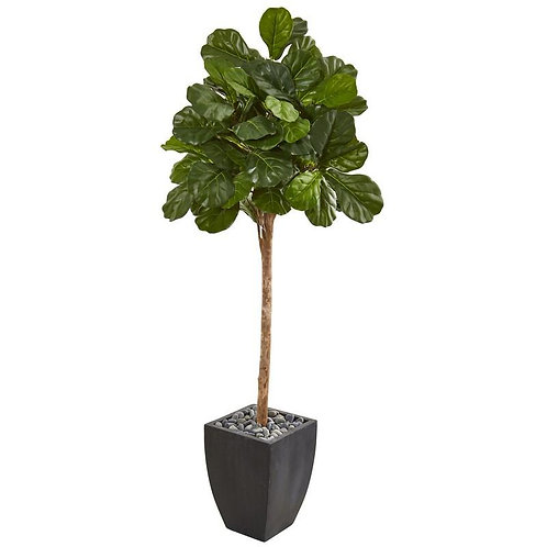 "71""  Fiddle Leaf Fig Artificial Tree in Black Planter"